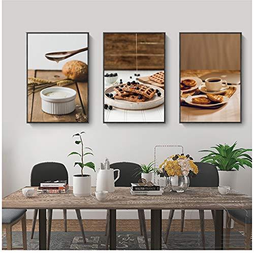 nobrand Wandkunst Modernes Foto Getränk Waffel Kaffee Blaubeer Poster Drucke Home Dekorative Bilder Leinwand Malerei-50x70 cm / 19,7