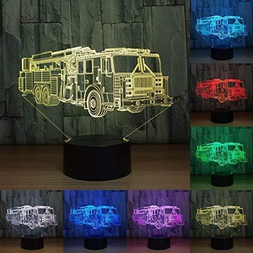 AI LI WEI Veilleuse, Camion de Pompiers Tracteur Veilleuse 7 Couleurs Mood Light Touch Table commutateur USB Bureau LED Lumière Cadeau de Noël Fête d'anniversaire d'enfants Accueil Cadeau de Noël