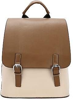 حقائب الظهر Hanyuemin للنساء من الجلد المرقع حقائب الظهر حقيبة الظهر حقيبة السيدات للسفر حقيبة مدرسية (اللون: كاكي)