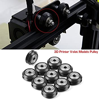25mm Pulley Bearing 10pcs POM Plastic Pulley Bearing Passive Round Wheel with Bearing Pulley Replacement Accessories for 3D Printer
