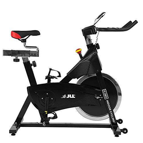 JLL IC260 Indoor Cycling 2019 Black Edition, volano da 15 kg con Resistenza Regolabile, manovella in 3 Pezzi, Monitor a 6 funzioni con frequenza cardiaca, Manubrio Regolabile e Sedile, 12 Mesi