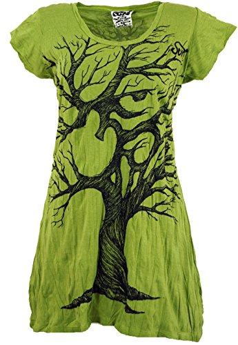 Guru-Shop Sure Long Shirt, Minikleid OM Tree, Damen, Lemon, Baumwolle, Size:L (40), Bedrucktes Shirt Alternative Bekleidung