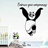 yaonuli Personalizado Panda Etiqueta de la Pared decoración del hogar Etiqueta de la Pared decoración del hogar Sala de Estar Dormitorio Etiqueta de la Pared 54x61cm