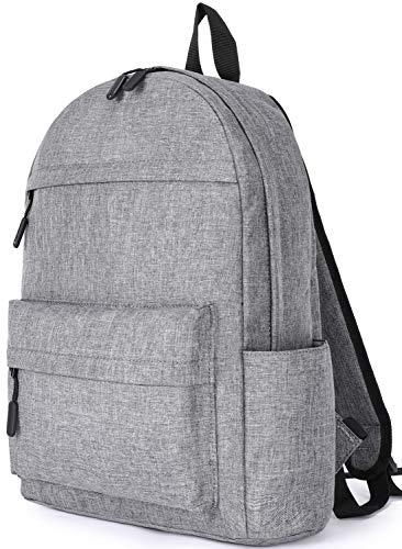 SAKUTANE Black Backpack 21Liter Waterproof Rucksack 15.6 inch Laptop School Bags Mens Womens Girls Boys Kids 33 x 14 x 40 cm Travel Hiking Business (Gray-New Material No Smell)