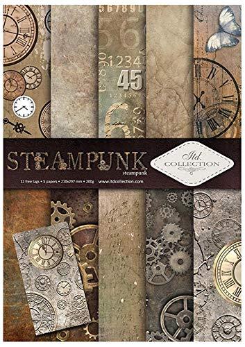 Itd Collection - Scrapbooking Papel, Set de Papel Decorativo Scrapbook A4, 5 Hojas de Papel 210x297 mm (Steampunk)