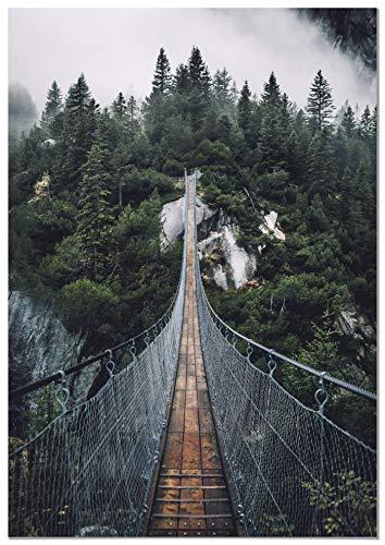 Panorama Lienzo Puente de Madera Colgante 50x70cm - Impreso en Lienzo Bastidor - Cuadros Decoración Salón - Cuadros Lienzos Decorativos - Cuadros Modernos
