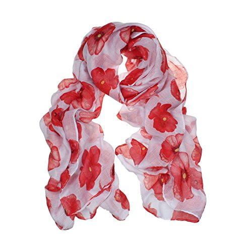 Women Girls Fashion Soft Scarf Red Poppy Print Long Scarf Flower Beach Wrap Ladies Stole Shawl (White)