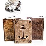 Logbuch-Verlag Juego de cuadernos vintage – 3 libros vacíos DIN A4 como cuaderno diario para diseñar, en blanco, ancla, globo terráqueo viejo mundo vintage