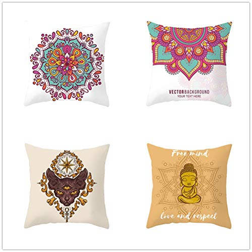 Throw Pillow Case Cushion Covers Zen Mandala Velvet Soft Decorative Square Double-Sided Pillowcases for Livingroom Sofa Bedroom with Lnvisible Zipper Car Home Decor Set of 4 T1778 60x60cm/23.4x23.4in
