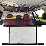 MDSTOP SUV Ceiling Storage Net with Fishing Rod Holder, Interior Car Roof Rack Mesh Storage Rack Polyester Mesh Sundries Organizers for Long Travel and Fishing (Black1, L)