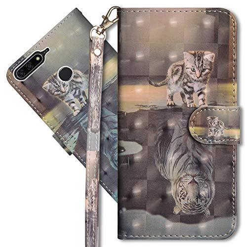MRSTER Huawei Y6 2018 Handytasche, Leder Schutzhülle Brieftasche Hülle Flip Hülle 3D Muster Cover mit Kartenfach Magnet Tasche Handyhüllen für Huawei Y6 2018 / Honor 7A. YX 3D - Cat Tiger