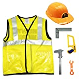 GiftExpress 6pcs Construction Worker Costume Engineering Pretend Role Play Kit, Halloween Costume for Little Boys Kids Yellow