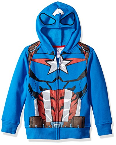 Marvel boys Costume Hoodie Hooded Sweatshirt, Captain America/Blue, 4 5 US