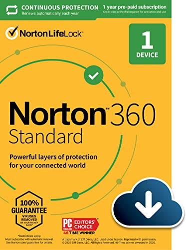 Norton 360 Standard 2021 – Antivirus software for 1 Device with Auto Renewal – Includes VPN, PC Cloud Backup & Dark Web Monitoring powered by LifeLock [Download]