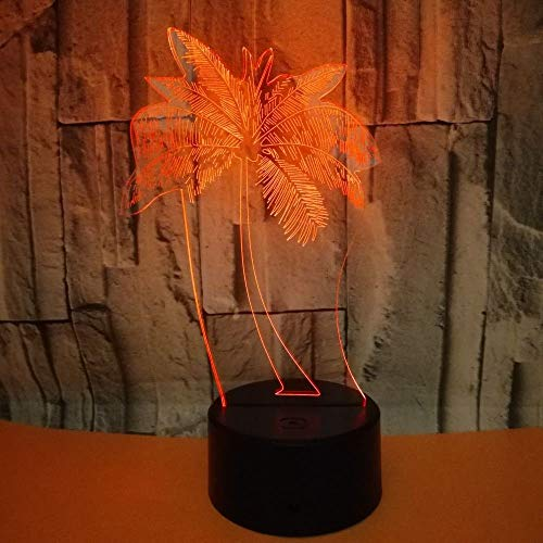 3D Illusion Nachtlicht Palme Led Schreibtisch Tischlampe Spielzeug Geschenke für Jungen Mädchen 16 Farbe Touch Lampe Kunst Skulptur Lichter Geburtstagsgeschenk für Kinder Schlafzimmer Dekor