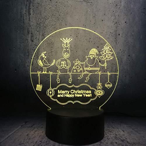 Papierschneideart 3D USB LED Lampen-Weihnachtsgeschenk-Schreibtisch-Nachtglühlampenlampe Beleuchtung der frohen Weihnachten und des guten Rutsch ins Neue Jahr