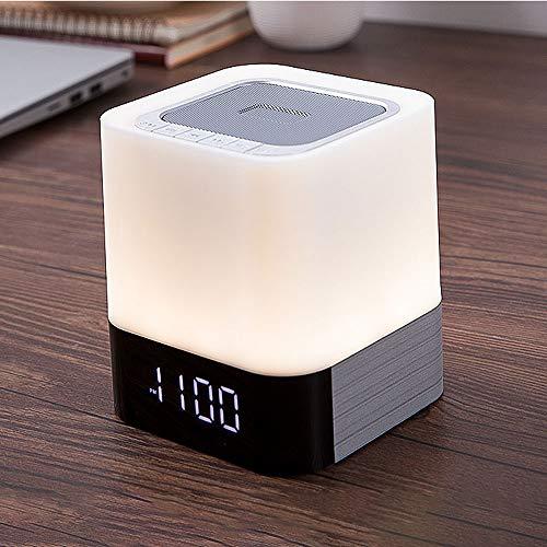 Nachtkastlampje, touchscreen, oplaadbaar, draagbaar, led, dimbaar, RGB, veelkleurig, nachtlampje bluetooth-luidspreker, met wekker, TF-kaartsleuf, handsfree functie, voor slaapkamer