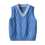 New Baby Kids Boys Waistcoat V-Neck Sleeveless Knitted Sweater Vest Uniform Pullover Top Autumn Clothes Solid Color (Blue, 4-5T)