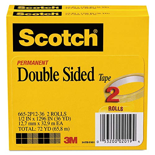 Scotch 6652P1236 665 Double-Sided Tape, 1/2-Inch x 1296-Inch, 3-Inch Core, Transparent, 2/Pack