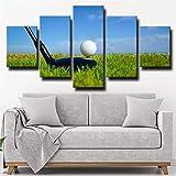 5 Piezas De Lienzo Camiseta Bola De Golf 5 Paneles Lienzo 5 Lienzo Impresión Decoracion Salon Grandes Cuadros para Dormitorios Modernos Mural Pared Listo para Colgar Decoración