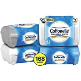 Cottonelle FreshCare Flushable Wipes for Adults, Wet Wipes, Alcohol Free, 4 Packs of 42 Wet Wipes (168 Wet Wipes Total)