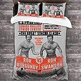 Superstar Wrestling Ron Swanson Vs Ron Burdy Anchorman Parks and Rec Juego de Cama de 3 Piezas Funda Decorativa con 2 Fundas de Almohada