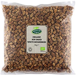Organic Sun Dried White Mulberries 1kg by Hatton Hill Organic - Certified Organic
