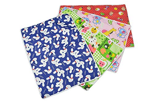 Goodluck a to z Born Baby Items Cotton Plastic Sleeping mat, Waterproof Foam Cushioned Changing Sheet (Multicolour, Large, Set of 4, 6-12 Months)