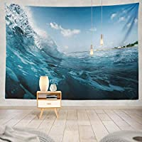 ANLAI 美しい青い雲の海岸壁掛けタペストリー ンンド 壁飾り 家 リビングルーム ベッドルーム 部屋 おしゃれ飾り 150cm x 150cm