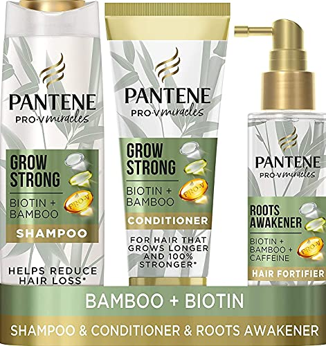 Pantene Grow Strong Shampoo and Hair Conditioner Sets with Biotin, Bamboo & Caffeine, Hair Loss Treatment Set with Hair Growth Shampoo, Hair Conditioner for Hair and Thickening Hair Treatment