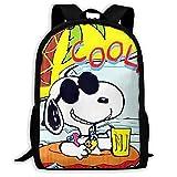 Mei-shop Mochila Informal Cool Summer Sn-oopy Print Zipper School Bag Mochila de Viaje Mochila