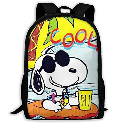 Mei-shop Casual Backpack Cool Summer Sn-oopy Print Zipper School Bag Travel Daypack Backpack
