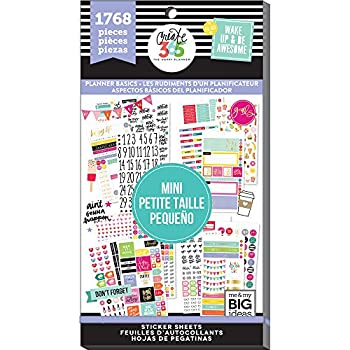 me & my BIG ideas Sticker Value Pack for Mini Planner - The Happy Planner Scrapbooking Supplies - Planner Basics Theme - Multi-Color & Gold Foil - For Projects & Albums - 30 Sheets 1768 Stickers