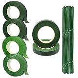 Yesallwas - Cinta adhesiva floral para tallo , 6 rollos (2 verdes poco profundos, 4 verdes profundos) con 50 piezas de alambre verde oscuro con tallo de alambre floral
