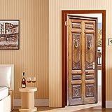 WSLIANG Pegatinas Puerta tridimensionales 3D Puerta de Madera Vieja Clásica Decoración Pegatinas Puerta Calcomanía Puerta Vinilo Extraíble para Decoración Hogar Habitación Dormitorio 77x200cm