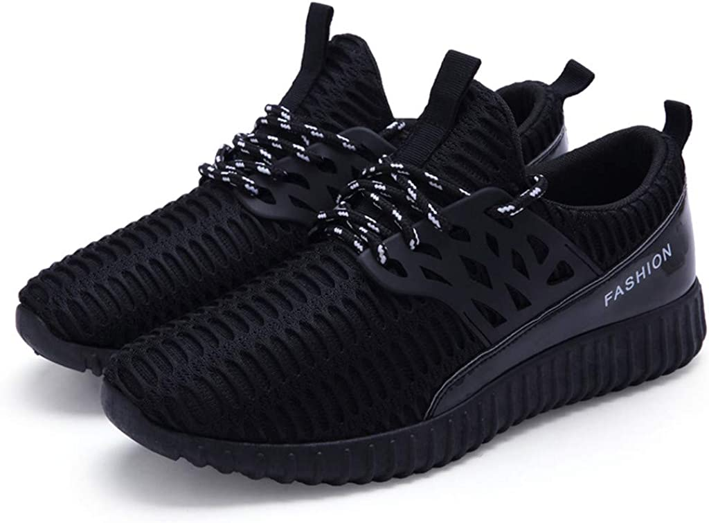 UNSKAM Mesh Men Sneakers Casual Shoes Lac-up Men Shoes Lightweight Comfortable Breathable Walking Sneakers Black