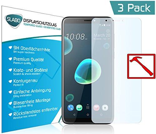 Slabo 3 x Premium Panzerglasfolie für HTC Desire 12+ Panzerfolie Schutzfolie Echtglas Folie Tempered Glass KLAR 9H Hartglas
