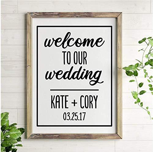 Willkommen auf unserer Hochzeitskarte und Datum Hochzeit Vinyl Wandkunst Applique Hochzeitstag Geschenk 42x55cm