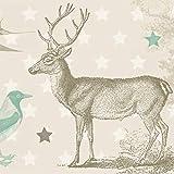 Anna Wand Bordüre selbstklebend Forest Animals - Wandbordüre Kinderzimmer/Babyzimmer mit Wald-Tieren in Beige-Tönen - Wandtattoo Schlafzimmer Mädchen & Junge, Wanddeko Baby/Kinder