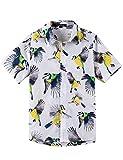 Spring&Gege Camisa hawaiana de manga corta con estampado de dibujos animados Aloha con botones (4-14 años, Pájaro amarillo, 9-10 Años