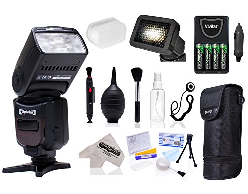 Opteka E-TTL AF Flash (IF-980) with Stand + Pouch + Diffuser + Grid + Batteries + Care Kit for Canon EOS 70D