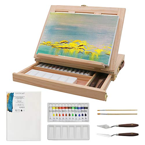 LUCYCAZ Adjustable Tabletop Easel, Pine Box with Canvas, Acrylic Paint, Palette and Brushes