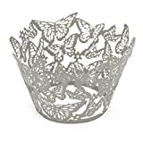 Little Snow Direct Butterfly 20pcs Laser Cut Cupcake Wrapper Wraps Cases Wedding Birthday Party - Silver Grey