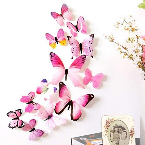 EROSPA® 3D Schmetterlinge - Butterfly - Wanddeko | Wandtattoo | Wandaufkleber | Wandsticker- 12-teilig (Pink)