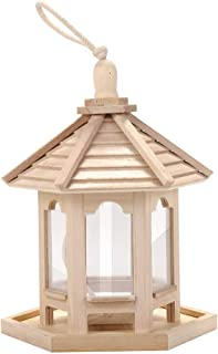 jiumoji Wooden Bird Feeder Outside Hanging for Garden Yard Tree Decoration Hexagon Shaped with Roof