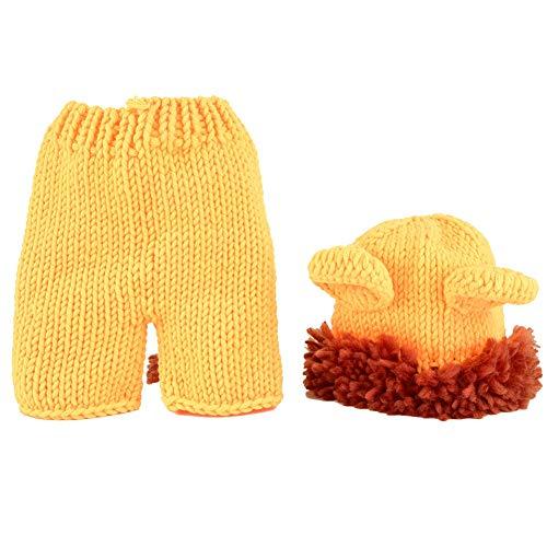 Traje de lana recién nacido Forma animal Amarillo Pequeño León Suave hecho a mano Crochet Bebé Sombrero Accesorios de fotografía Conjunto de 0-12 meses