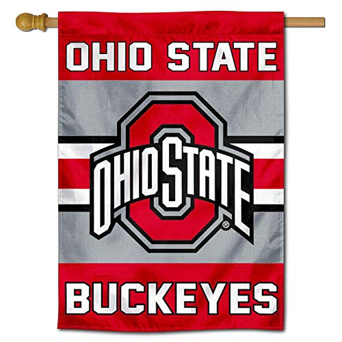 College Flags & Banners Co. Ohio State Buckeyes Two Sided and Double Sided House Flag