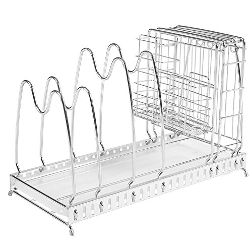 Stainless Steel Wire Adjustable Pot Lid Drying Rack with Knives & Utensil Holder and Drip Tray