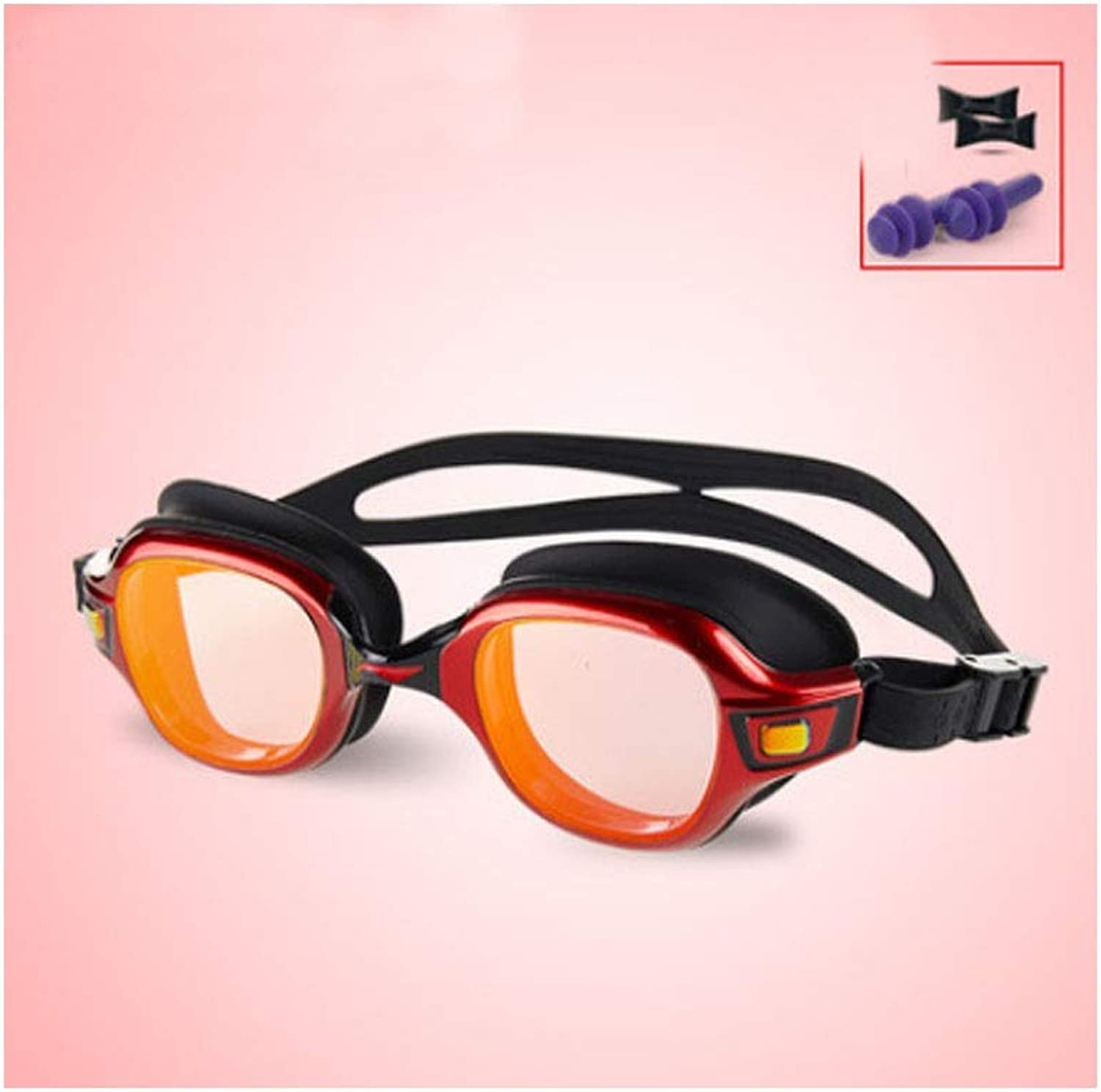 Goggles, Dreamy pink Red Design Goggles, HD Waterproof and AntiFog Design, Large Box Swimming Equipment (White, Gifts; Nose Clip + Earplugs)