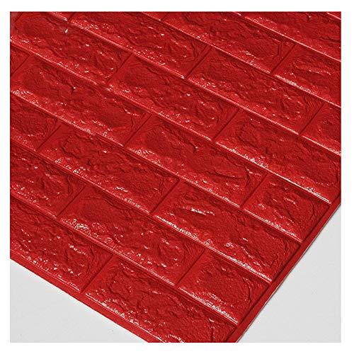 KAERMA Marmor 3D-Wand-Aufkleber Selbstklebende TV-Hintergrund-Wand Brick Tapete Tapete Wohnzimmer Tapete Schlafzimmer Wasserdicht Dekorationswerkzeuge (Color : Red)